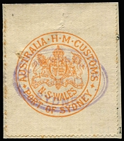 Lot 63:Customs Clearance Seals red/white Port of Sydney P11½ on 3 side, cancelled Jan 1902.