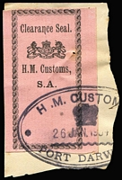 Lot 831:Customs Clearance Seals black/rose HM Customs, SA, imperf, cancelled 26Jan1904 at Port Darwin