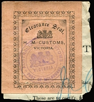 Lot 64 [2 of 2]:Customs Clearance Seals black/pink HM Customs, Victoria, imperf, on piece, Port of Melbourne handstamp. Plus printed 'Per PACKET POST Samples' label from Sands & McDougall with Customs and Excise handstamp. (2)