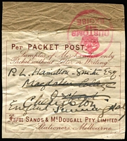 Lot 64 [1 of 2]:Customs Clearance Seals black/pink HM Customs, Victoria, imperf, on piece, Port of Melbourne handstamp. Plus printed 'Per PACKET POST Samples' label from Sands & McDougall with Customs and Excise handstamp. (2)