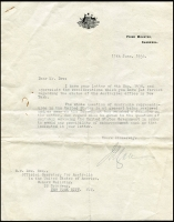 Lot 960 [2 of 2]:1936 Signed Letter to Prime Minister Joseph Lyons and His Reply: an official copy of a 3-page letter from David Dow, Official Secretary for the Commonwealth of Australia in New York, suggesting that, as the title of Official Secretary was undefined from a diplomatic point of view, it was time to upgrade the status and staff so that an exaquatur (an official recognition by a government of a consul or other representative of a foreign state, authorizing them to exercise office) could be accepted by the USA. At the time Australia was using the British Embassy for its formal diplomatic relationship with the USA. Quite an interesting letter, also includes the signed reply from the Prime Minister, Joseph Lyons. Plus 1934 ...Government Office ...Commonwealth of Australia ... New York cover to Australia, 'Per S.S. MARIPOSA/via San Pedro' handstamp on face, corner damage at pottom right. (3)