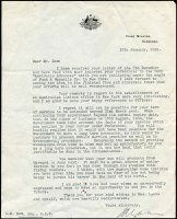 Lot 961 [2 of 2]:1938 Signed Letter From Prime Minister Joseph Lyons and His Reply: to David Dow stating that, as he was past retirement age, his position in New York could not be extended.