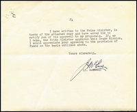 Lot 749 [2 of 2]:1957 Signed Letter From Minister For Trade John McEwan: to the Treasurer requesting support for a Trade Mission to Asia. [John McEwan became Australia's 18th Prime Minister 19/12/1967 to #10/1/1968, 23 days!!]