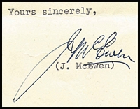 Lot 466:1957 Signed Letter From Minister For Trade John McEwan: to the Treasurer requesting support for a Trade Mission to Asia. [John McEwan became Australia's 18th Prime Minister 19/12/1967 to #10/1/1968, 23 days!!]