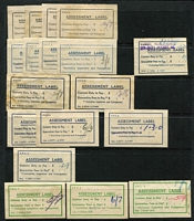 Lot 844 [2 of 2]:Assessment Labels: used for the collection of Customs Duty &/or Quarantine Fees, group on Hagner with 7 different types, all used for Customs Duty. Rarely offered. (19)
