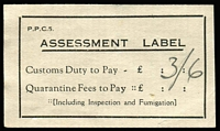 Lot 844 [1 of 2]:Assessment Labels: used for the collection of Customs Duty &/or Quarantine Fees, group on Hagner with 7 different types, all used for Customs Duty. Rarely offered. (19)