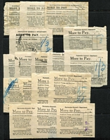 Lot 846 [2 of 2]:More To Pay Labels: used for collection of various fees including Customs Duty, group on Hagner with 5 different types, most used for Customs Duty. Rarely offered. (18)