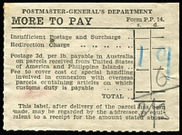 Lot 989 [1 of 2]:More to Pay Labels: used for collection of various fees including Customs Duty, group on Hagner with 5 different types, most used for Customs Duty. Rarely offered. (18)