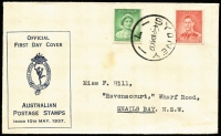 Lot 343 [2 of 6]:1934-40 Group with Macarthur set, Coronation pair, NSW Sesqui Centenary set & AIF set. Plus New Zealand 1937 Dunedin Post Office illustrated cover & 1929 PPC USA to Australia with 2c Vincennes, underpaid & taxed. (6)