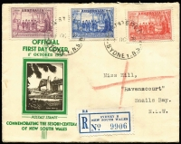 Lot 343 [3 of 6]:1934-40 Group with Macarthur set, Coronation pair, NSW Sesqui Centenary set & AIF set. Plus New Zealand 1937 Dunedin Post Office illustrated cover & 1929 PPC USA to Australia with 2c Vincennes, underpaid & taxed. (6)
