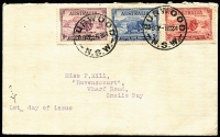 Lot 343 [1 of 6]:1934-40 Group with Macarthur set, Coronation pair, NSW Sesqui Centenary set & AIF set. Plus New Zealand 1937 Dunedin Post Office illustrated cover & 1929 PPC USA to Australia with 2c Vincennes, underpaid & taxed. (6)