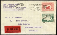 Lot 898 [1 of 2]:1930 Camooweal-Daly Waters (Feb 19) Australian Aerial Services Sheard cover (lightly creased), stamps cancelled at Brisbane, backstamped Daly Waters/N.T. (Feb 20), AAMC #151, Cat $300.