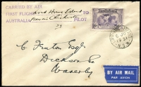 "Lot 408:1931 Lord Howe Island Francis Chichester cover to Australia, AAMC #184a with Kingsford Smith 6d tied by very fine strike of the 'LORD HOWE ISLAND/6JU/1931' datestamp, numbered ""59"" with 3-line cachet in violet signed ""Francis Chichester"", small tear at top left, Cat $650."