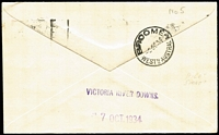 Lot 764 [2 of 2]:1934 Perth-Daly Waters (Oct 3) MacRobertson Miller Aviation Perth - Victoria River Downs intermediate, backstamped Broome cds and 'VICTORIA RIVER DOWNS.' and '7 OCT. 1934' handstamps, signed Pilot HB Hussey, AAMC #429a, Cat $150+.
