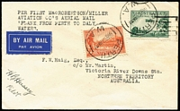 Lot 899 [1 of 2]:1934 Perth-Daly Waters (Oct 3) MacRobertson Miller Aviation Perth - Victoria River Downs intermediate, backstamped Broome cds and 'VICTORIA RIVER DOWNS.' and '7 OCT. 1934' handstamps, signed Pilot HB Hussey, AAMC #429a, Cat $150+.