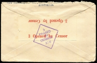 Lot 814 [2 of 2]:Malaya POW 1944? censored stampless Japanese Red Cross cover (3-bar ovpt). No postal or Japanese censor marks so may not have left Australia.