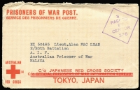 Lot 814 [1 of 2]:Malaya POW 1944? censored stampless Japanese Red Cross cover (3-bar ovpt). No postal or Japanese censor marks so may not have left Australia.