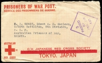 Lot 815 [1 of 2]:Malaya POW 1944? censored stampless Japanese Red Cross cover (thick bar ovpt) from Camberwell, Melbourne. No postal or Japanese censor marks so may not have left Australia.