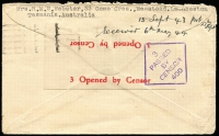 "Lot 813 [2 of 2]:Malaya POW 1943 (Sep 27) censored stampless Japanese Red Cross cover (thick bar ovpt) from Launceston, Tas. No Japanese censor mark. ""Cha"" endorsement for Changi."