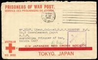 "Lot 813 [1 of 2]:Malaya POW 1943 (Sep 27) censored stampless Japanese Red Cross cover (thick bar ovpt) from Launceston, Tas. No Japanese censor mark. ""Cha"" endorsement for Changi."