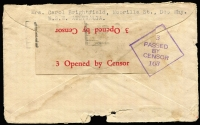 "Lot 811 [2 of 2]:Malaya POW 1943 (Jun 3) censored stampless Japanese Red Cross cover (thick bar ovpt) from Dee Why, Sydney. No Japanese censor mark. ""Ch"" endorsement for Changi?"