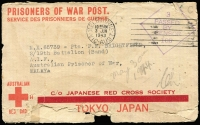 "Lot 811 [1 of 2]:Malaya POW 1943 (Jun 3) censored stampless Japanese Red Cross cover (thick bar ovpt) from Dee Why, Sydney. No Japanese censor mark. ""Ch"" endorsement for Changi?"