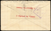 "Lot 810 [2 of 2]:Malaya POW 1943 (May 17) censored stampless Japanese Red Cross cover (thick bar ovpt) from Toorak Gardens, SA. No Japanese censor mark. ""DDR"" endorsement for Camp and ""CI"" endorsement for Civilian Internee."