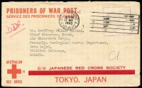 "Lot 810 [1 of 2]:Malaya POW 1943 (May 17) censored stampless Japanese Red Cross cover (thick bar ovpt) from Toorak Gardens, SA. No Japanese censor mark. ""DDR"" endorsement for Camp and ""CI"" endorsement for Civilian Internee."