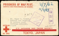 "Lot 808:Malaya POW 1942 (Jul 31) censored stampless Japanese Red Cross cover (thick bar ovpt) from Sydney to Civilian Internee. Japanese boxed censor mark. ""C.WS2"" endorsement for Camp, ""not FMS FF"" endorsement crossed out."