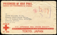 Lot 809:Malaya POW 1942 (Oct 25) censored stampless Japanese Red Cross cover (3-bar ovpt) from Perth, WA to Civilian Internee. Japanese censor handstamp on face. Includes letter from Internee's wife.
