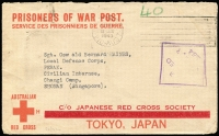 Lot 812:Malaya POW 1943 (Jun 18) censored stampless Japanese Red Cross cover (thick bar ovpt) from Mundaring, WA. No Japanese censor handstamp.