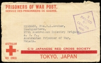 Lot 807:Malaya POW 1942 (Jun 29) censored stampless Japanese Red Cross cover (thick bar ovpt) from Longreach, Qld. No postal or Japanese censor marks. Includes letter from POW's parents.