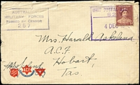 Lot 1057 [2 of 4]:Tasmania Field POs selection comprising Anglesea Barracks and Brighton Camp, five different Censor handstamps employed, duplicated, odd fault, generally good. (11)