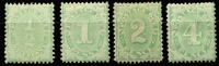 Lot 821 [2 of 2]:1906-08 Design Completed Wmk Crown/Single Lined A P11½-12x11 ½d to 4d set, BW #D46-53 range, Cat $1,200+. (5)