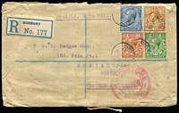 Lot 869 [1 of 2]:1921 (Dec 28) registered GB inwards from Manchester to Perth with 9½d postage, red triple-circle 'H.M. CUSTOMS/PASSED/PERTH' on face.