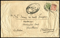 Lot 891:1922 (Nov 24) GB inwards from London to Melbourne with 9d & 1½d KGV, triple-oval 'H.M. CUSTOMS/PASSED