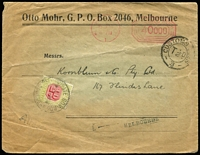 Lot 1016:1923 inwards cover from Germany to Melbourne with triple-circle 'CUSTOMS DUE