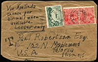 "Lot 815:1929 (Jul 29) homemade cover to US bearing 3d Airmail and 1½d red KGV pair tied by Darwin cds, endorsed Via Koolinda/thence per/airmail when/available, handstruck 'T' and mss ""1/6"" lower left corner. Early external airmail for Northern Territory."