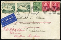 Lot 820 [1 of 2]:1932 (Apr 12) cover from USA to Thomas Cook Sydney with 2c Washington x2 & 1c Franklin tied by Belmont (Mass) machine cancel, redirected on arrival by air to Darwin with 3d Airmail x2 added and tied by Sydney datestamps, 'Thomas Cook '21MAY1932' datestamps on reverse, a few stains on reverse.