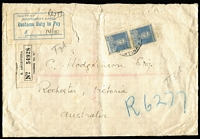 "Lot 418 [1 of 2]:1933 (May 12) inwards registered cover from Argentina to Rochester, Vic, blue/white 1928 Assessment Label for 14/10d on face, also mss ""T3d"" on face twice, a little tatty. Rare."