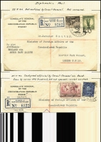 Lot 886 [3 of 7]:1940-41 Czech Consular Mail mainly from Sydney to the Czech Government in Exile in London. Mostly airmail and registered, many certified official and therefore stamped 'NOT OPENED' by the censor. An unusual group and rarely offered. (10)