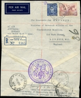 Lot 886 [1 of 7]:1940-41 Czech Consular Mail mainly from Sydney to the Czech Government in Exile in London. Mostly airmail and registered, many certified official and therefore stamped 'NOT OPENED' by the censor. An unusual group and rarely offered. (10)