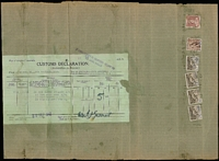 Lot 664 [1 of 2]:1942 (Sep 30) entire parcel wrapper of food from Anthony Hordern & Sons to England, with labels asserting the contents are a bonefide gift from a private address. Complete customs declaration form on back, 3/7d in stamps. Unusual to find a complete wrapper for these parcels.