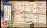 Lot 676:1950s complete parcel label with customs declaration for broken shaft... from the Westinghouse, Rosebery, NSW to airmail to New York. 5/- Arms & 1/- Lyre on label.
