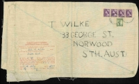Lot 802:1956 (Jan 26) use of 1/- Lyre & 1d violet QEII x4 on linen bag from Australian soldier with BCOF forces in Kure, Japan to South Aust. special forces Customs Declaration form gives value of contents and total value of sent goods for the calendar year. Most unusual and interesting.