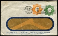 Lot 781:1924 1d Green KGV Star With 'POSTAGE' + ½d Orange KGV Star No 'POSTAGE' on Brooke's 'Lemos' The Best Lemon Squash window envelope, used 23SEP1927, BW #ES44, 3,500. A new user. The only previously known user is Berlie Ltd, and only 6 covers had been recorded for them.