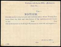 Lot 772 [2 of 2]:1919-21 1½d Red-Brown KGV Sideface Solid 'OS' Type 2 - 'S' slightly lower than 'O' - with constant variety White spot under right-hand value tablet BW #PO3B, for Customs & Excise Office (Melbourne), printed notice on reverse in blue, fine condition, Cat $1,000.