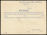 Lot 836 [2 of 2]:1919-21 1½d Red-Brown KGV Sideface Solid 'OS' Type 2 - 'S' slightly lower than 'O' - with constant variety White spot under right-hand value tablet BW #PO3B, for Customs & Excise Office (Melbourne), printed notice on reverse in blue, fine condition, Cat $1,000.