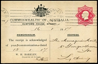 Lot 598:1916-19 1d Red KGV Star Die 1 for Customs House, Sydney, BW #PS9, 1917 use in Sydney.