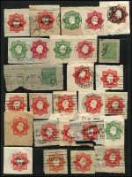 Lot 767 [2 of 5]:KGV Selection Of Cut-Outs: mainly envelopes, incl 1d & ½d doubleton x3, 1d red Star x13, 1d green Star x2, 1d violet Star x3, 1½d on 2d red Star x4, 1½d brown Stars x30 (POSTAGE x5), 2d orange Star x13 (POSTAGE x3). Officials incl 2d red Star x4, 2d orange Star POSTAGE x2, 1½d on 2d red Star. Useful research material, come nice Victorian postmarks seen. (100+)